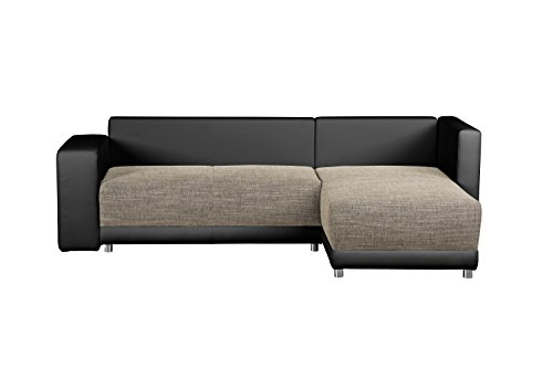wohnlandschaft l form mit federkern sofa mit schlaffunktion und bettkasten mit struktursstoff. Black Bedroom Furniture Sets. Home Design Ideas