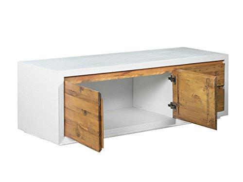 woodkings tv bank burnham lowboard aus akazien holz rustikal korbus mdf weiss tv regal. Black Bedroom Furniture Sets. Home Design Ideas