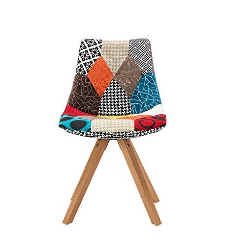 yilianda 2er set patchwork stuhl im retro design gepolstert stuhl beinen esszimmerst hle mit. Black Bedroom Furniture Sets. Home Design Ideas
