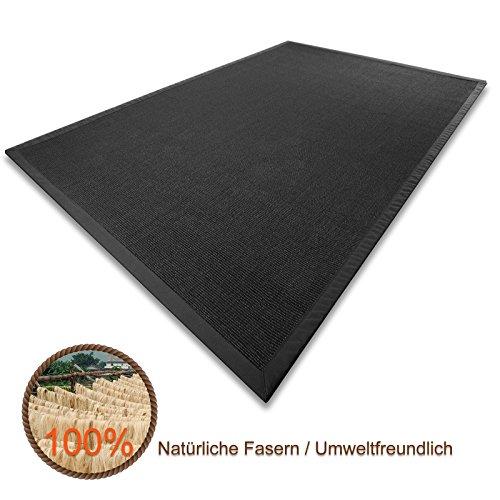 casa pura sisal teppich aus naturfasern schwarz mit bordre aus baumwolle pflegeleicht gre whlbar. Black Bedroom Furniture Sets. Home Design Ideas