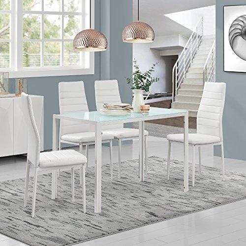 moderner esstisch wei 4er stuhlset wei skandinavische m bel. Black Bedroom Furniture Sets. Home Design Ideas