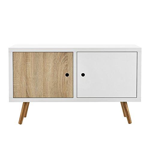 "[en.casa] Retro Kommode ""Wien"" / Sideboard / TV Lowboard mit 2 Schranktüren - Eiche/weiß"