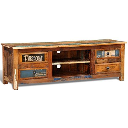 vidaxl antik tv hifi rack lowboard sideboard fernsehtisch vintage holz teak retro 4. Black Bedroom Furniture Sets. Home Design Ideas