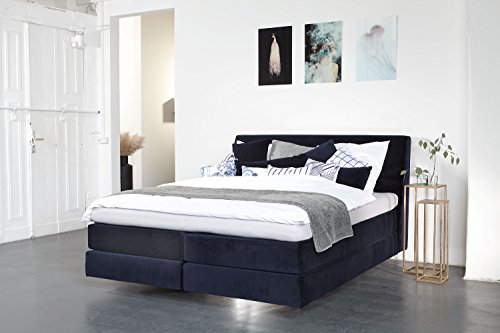 breckle boxspringbett shan classic 140x200 cm samststoff dark blue inkl wende topper gelschaum. Black Bedroom Furniture Sets. Home Design Ideas