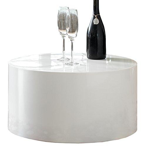 couch tisch wei hochglanz rund aus mdf durchmesser 60cm kuba moderner wohnzimmer tisch in. Black Bedroom Furniture Sets. Home Design Ideas