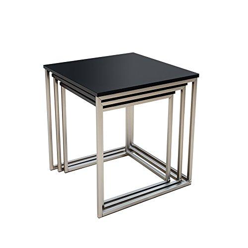 design beistelltisch 3er set fusion matt schwarz edelstahl geb rstet couchtisch satztische. Black Bedroom Furniture Sets. Home Design Ideas