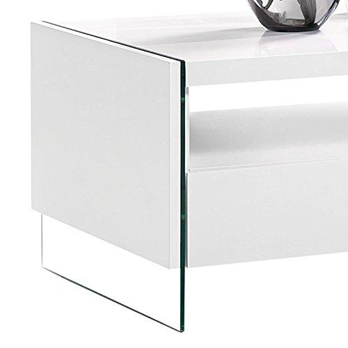 Design couchtisch hochglanz wei wohnzimmer ablage glas for Design couchtisch twister weiss hochglanz beistelltisch