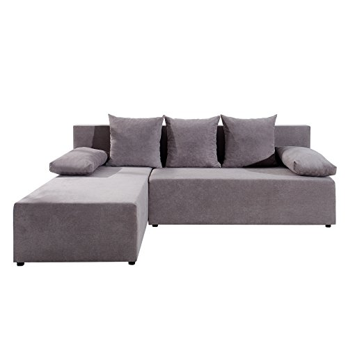 design ecksofa cubus soft baumwolle greige mit schlaffunktion und bettkasten skandinavische m bel. Black Bedroom Furniture Sets. Home Design Ideas