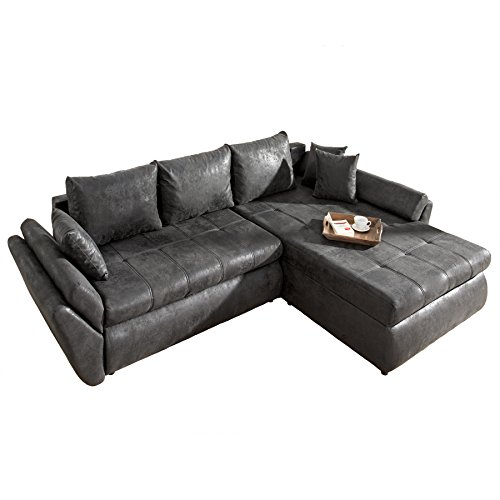 design ecksofa rodeo vintage grau im used look mit schlaffunktion schlafsofa couch. Black Bedroom Furniture Sets. Home Design Ideas