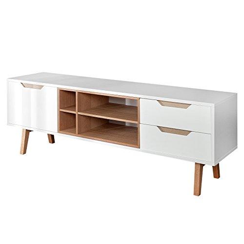 design retro lowboard nordic 150cm edelmatt wei echt eiche tv board fernsehtisch wohnzimmer. Black Bedroom Furniture Sets. Home Design Ideas