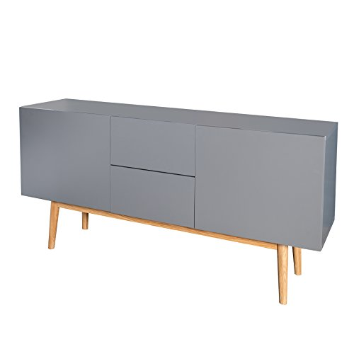design sideboard lisboa anthrazit 150cm mit eiche f en skandinavisches design skandinavische. Black Bedroom Furniture Sets. Home Design Ideas