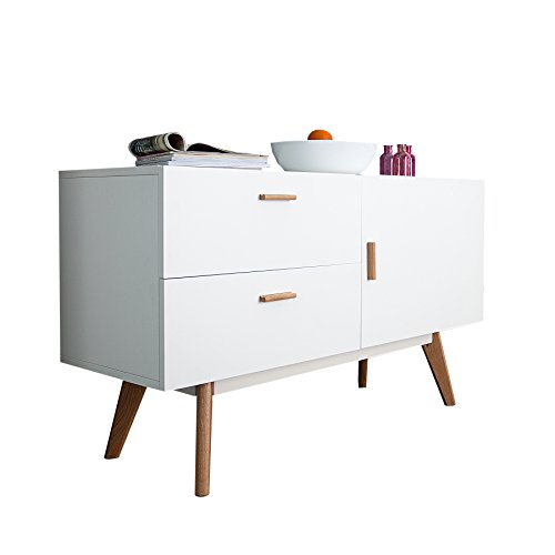 design sideboard scandinavia meisterst ck 120cm wei echt eiche anrichte kommode. Black Bedroom Furniture Sets. Home Design Ideas