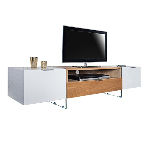 design tv lowboard onyx weiss hochglanz eiche 160 cm tv schrank fernsehschrank fernsehtisch. Black Bedroom Furniture Sets. Home Design Ideas