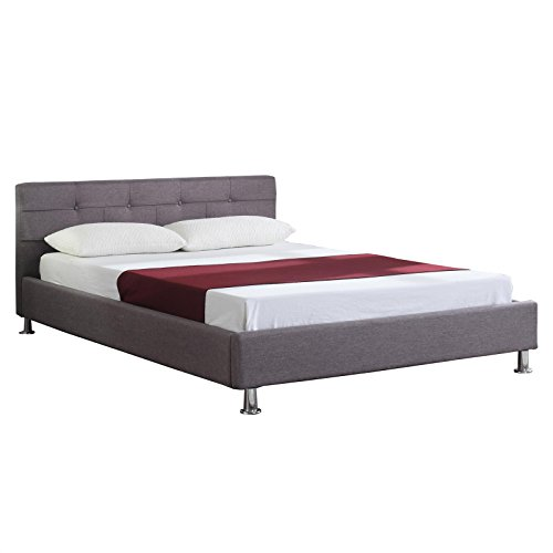 doppelbett polsterbett bettgestell laredo 140 200 cm in grau anthrazit inklusive rollrost. Black Bedroom Furniture Sets. Home Design Ideas