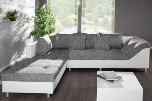 gro es ecksofa sultan weiss strukturstoff grau ot links skandinavische m bel. Black Bedroom Furniture Sets. Home Design Ideas