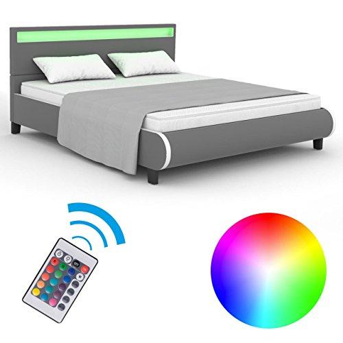 homelux led bett polsterbett kunstlederbett doppelbett bettgestell bettrahmen 140 x 200 cm grau. Black Bedroom Furniture Sets. Home Design Ideas