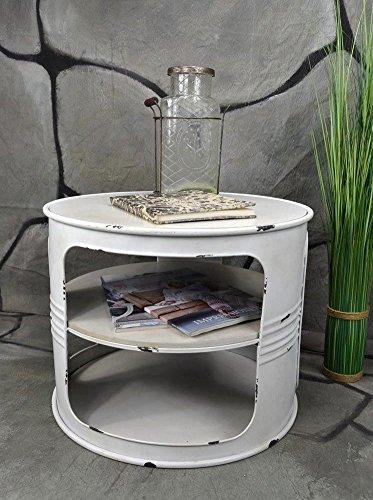livitat couchtisch beistelltisch wei metall lfass vintage industrie look loft shabby lv5024. Black Bedroom Furniture Sets. Home Design Ideas