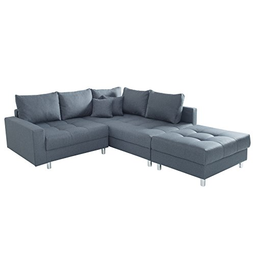 moderne ecksofa kent 220cm anthrazit inkl hocker und kissen ottomane beidseitig aufbaubar sofa. Black Bedroom Furniture Sets. Home Design Ideas