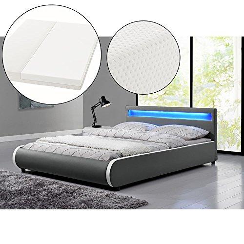 polsterbett sevilla 140 x 200 cm dunkelgrau mit lattenrost kaltschaummatratze. Black Bedroom Furniture Sets. Home Design Ideas