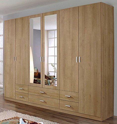 rauch kleiderschrank 6 t rig 2 spiegelt ren 6 schubk sten eiche riviera skandinavische m bel. Black Bedroom Furniture Sets. Home Design Ideas