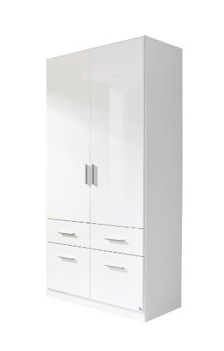 rauch kleiderschrank wei hochglanz 2 t rig mit 4 schubladen korpus wei alpin bxhxt 91x197x54. Black Bedroom Furniture Sets. Home Design Ideas