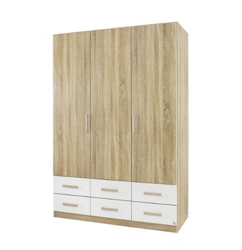 rauch kleiderschrank mit schubladen eiche sonoma 3 t rig. Black Bedroom Furniture Sets. Home Design Ideas