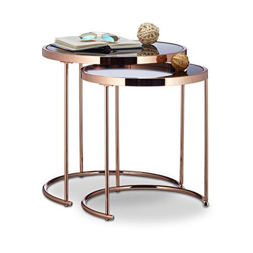 Relaxdays satztische rund chromgestell 2er set modernes for Designer beistelltische metall