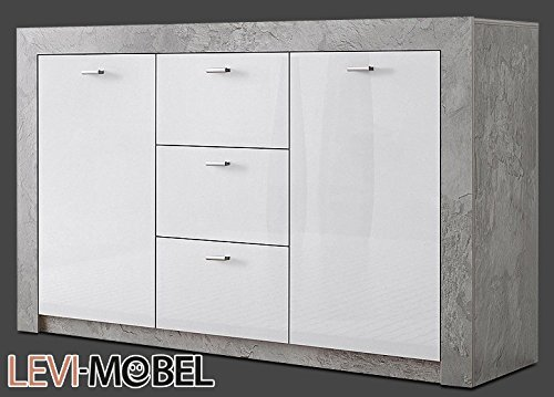 sideboard wohnzimmer wohnwand anbauwand beton optik wei hochglanz neu 247245 skandinavische m bel. Black Bedroom Furniture Sets. Home Design Ideas