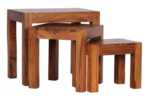 wohnling 3er set satztisch massivholz sheesham wohnzimmer. Black Bedroom Furniture Sets. Home Design Ideas
