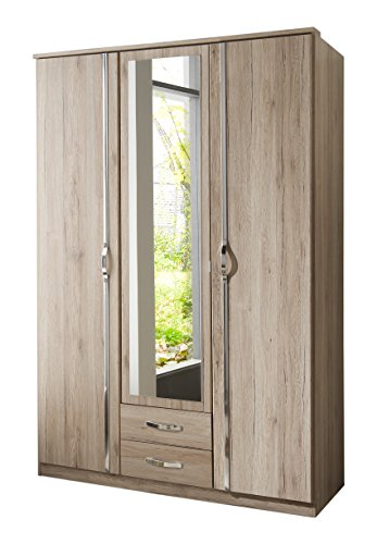 wimex 064484 kleiderschrank 3 t rig mit zwei schubk sten und einer spiegelt r san remo eiche. Black Bedroom Furniture Sets. Home Design Ideas