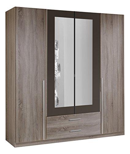 wimex 167453 kleiderschrank 4 t rig mit zwei schubk sten und zwei spiegelt ren korpus montana. Black Bedroom Furniture Sets. Home Design Ideas
