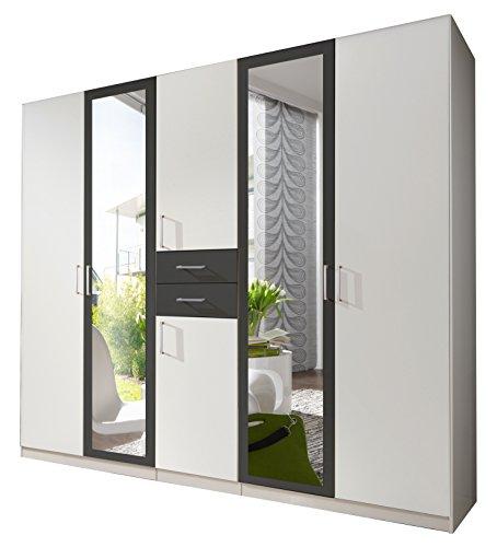 wimex 450547 kleiderschrank 5 t rig alpinwei absetzungen anthrazit skandinavische m bel. Black Bedroom Furniture Sets. Home Design Ideas