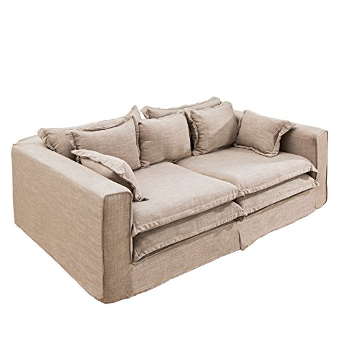 xxxl sofa cloud sand leinen stoff hussen 230cm couch big sofa leinenstoff textilsofa hussensofa. Black Bedroom Furniture Sets. Home Design Ideas