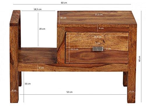 nachttisch mumbai massiv holz sheesham nacht kommode 40 cm hoch schublade mit zeitungsablage. Black Bedroom Furniture Sets. Home Design Ideas