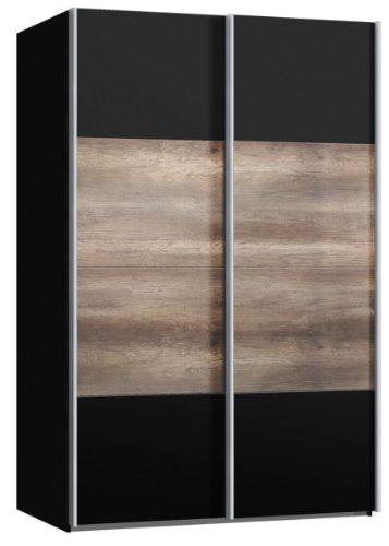 schwebet renschrank schiebet renschrank ca 150 cm dekor schwarz mit dekor wildeiche. Black Bedroom Furniture Sets. Home Design Ideas