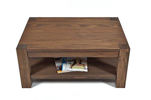 couchtisch beistelltisch mit ablage rio bonito 100x70cm h he 60 cm pinie massivholz ge lt. Black Bedroom Furniture Sets. Home Design Ideas