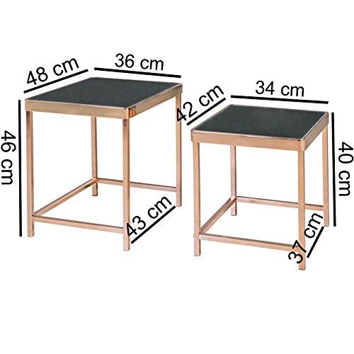 Finebuy design 2er set satztisch metall glas schwarz for Design beistelltisch metall glas