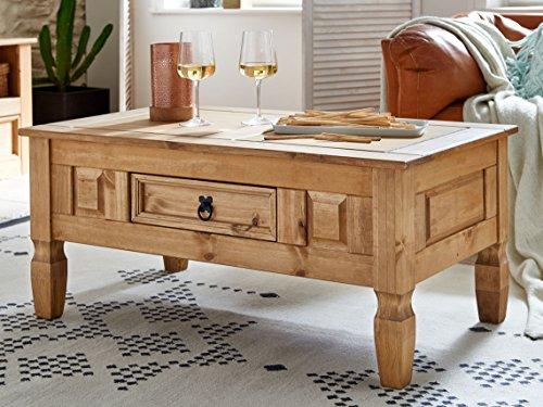 sam couchtisch aus kiefernholz mexico m bel rustikaler tisch mit schubfach gewachste. Black Bedroom Furniture Sets. Home Design Ideas