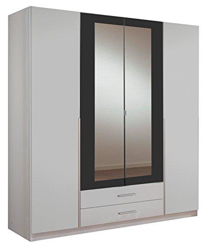 wimex 153453 kleiderschrank 4 t rig mit zwei schubk sten und zwei spiegelt ren korpus 180 x. Black Bedroom Furniture Sets. Home Design Ideas