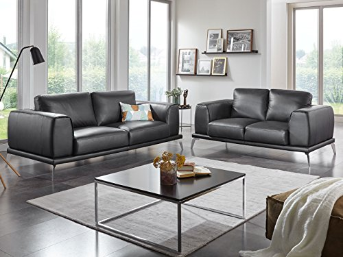 leder couchgarnitur 3 2 sitzer ledersofa schwarz nizza designer sofa teilleder skandinavische. Black Bedroom Furniture Sets. Home Design Ideas