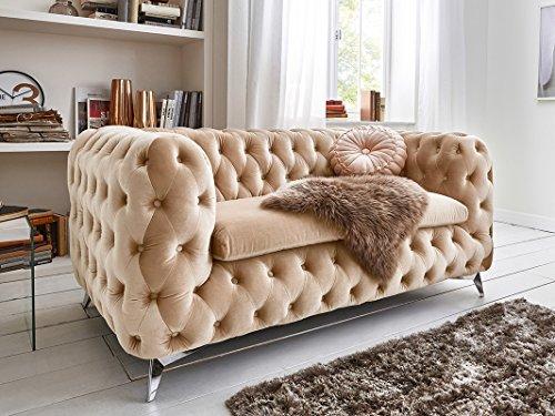 Chesterfield Sofa Couch Stoff Samt 3 Sitzer 2 Sitzer Sessel 1 Sitzer Designer Möbel Emma (2-Sitzer, Creme-Beige)