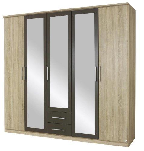 rauch kleiderschrank mit spiegel 5 t rig 2 schubladen eiche sonoma absetzung lavagrau bxhxt. Black Bedroom Furniture Sets. Home Design Ideas