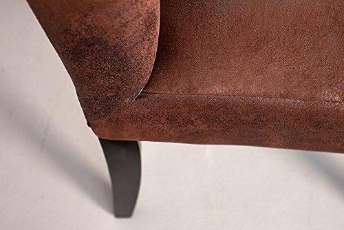 sitzbank oxford hohe r ckenlehne mit kn pfen mikrofaser antik braun 165cm englischer stil. Black Bedroom Furniture Sets. Home Design Ideas