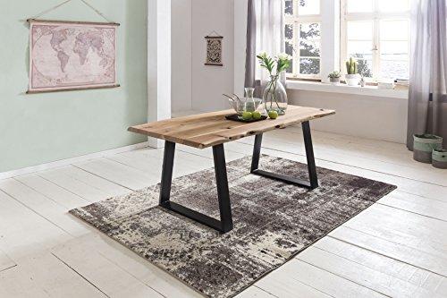 esstisch baumkante esszimmertisch massivholz akazie natur 180 x 80 x 76 cm baumstamm k chentisch. Black Bedroom Furniture Sets. Home Design Ideas