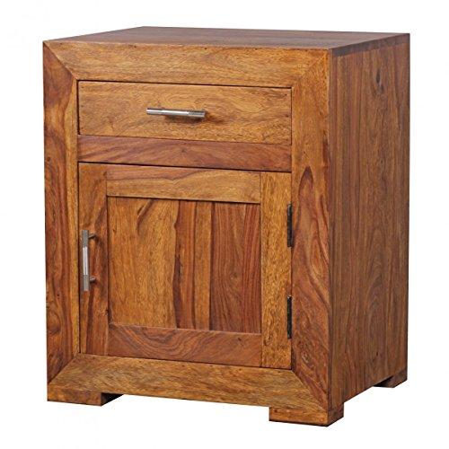 nachttisch massivholz sheesham design nachtkommode 60 cm mit schublade und t r nachtschrank f r. Black Bedroom Furniture Sets. Home Design Ideas