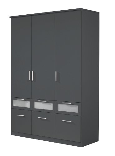 rauch kleiderschrank 3 t rig mit schubladen grau metallic nachbildung bxhxt 136x199x56 cm. Black Bedroom Furniture Sets. Home Design Ideas