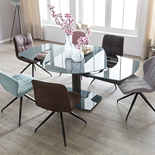 finebuy esszimmertisch noah 120 180 cm ausziehbar dunkelgrau metall glas tisch f r. Black Bedroom Furniture Sets. Home Design Ideas