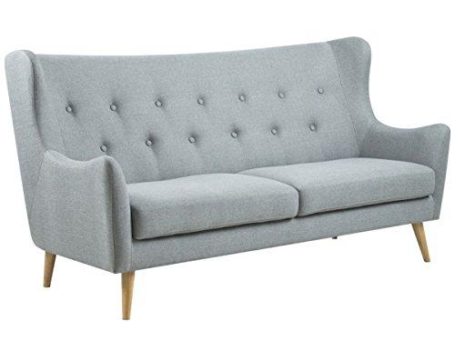 "Sofa Stoffcouch Couch Dreisitzer Küchensofa Retro grau ""Kaoma I"" (3-Sitzer)"