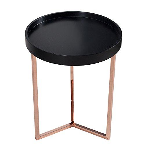 extravaganter couchtisch modul 40 cm matt schwarz kupfer rund inkl tablett beistelltisch tisch. Black Bedroom Furniture Sets. Home Design Ideas