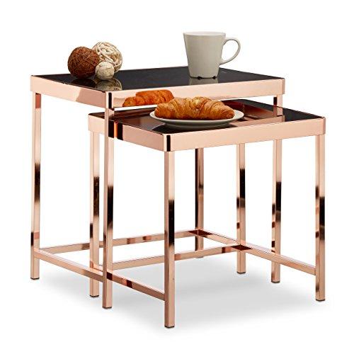 relaxdays beistelltisch copper 2er set glastisch mit spiegelglas schwarz 2 kleine satztische. Black Bedroom Furniture Sets. Home Design Ideas